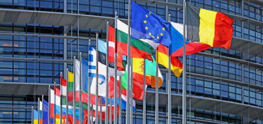 EU flags, European Parliament, Strasbourg